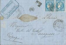 1871- LETTRE  pour SARAGOSSE (ESPAGNE) BORDEAU BLEU PALE  N°46