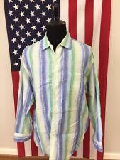 Caribbean Linen Cotton Blend Shirt men's XL green blue striped long sleeve 8402