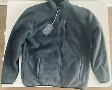 Weatherproof Vintage Full Zip Jacket Mens Large Gray Striped Faux Fur Lined