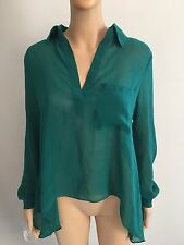 Oliviaceous Green Collared Pocket Long Sleeve V Neck Shirt Top Blouse Size S