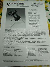 RAR,Prospekt,Foto,Beschreibg.BRESSER Optik,ManginCassegrain Teleskop,Wega,um1985