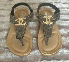 Black Samba Flat Sandals Size 7