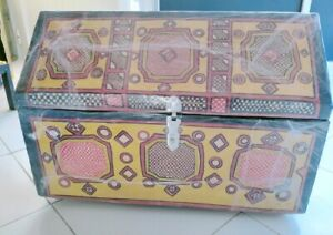 Unique Handmade Storage African Box Wood Wrapped Leather Colorful Hand Painted