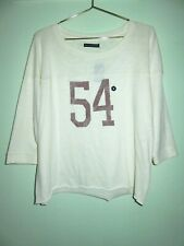 NEW Abercrombie & Fitch Womens Cream #54 Football Cropped Sweatshirt Size Medium