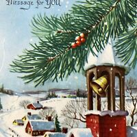 Vintage Mid Century Christmas Greeting Card Red Church Steeple Bell Snowy Town