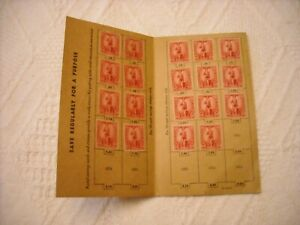 POSTAL WAR SAVINGS CARD WITH 19 MINT 10c STAMPS PS 333/10 FROM MARCH 1941