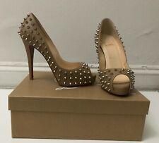 Christian Louboutin Lady Peep Spike Size 37.5 Nude Spike Heels Peep Toe Shoe