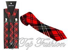 NUOVO tartan bretelle Plus Rosso Cravatta Scozzese Costume Anni'70 Punk HEAD
