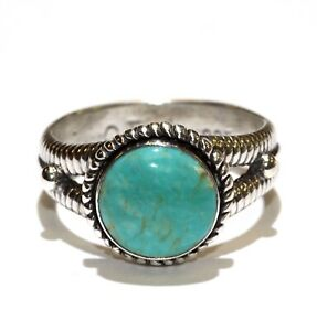 925 Sterling Silver turquoise gemstone band ring 6.6g ladies estate 8