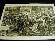 Great Britain INTERRUPTED KING'S CHRISTMAS FEAST 1878 Lg FOOD Print w POEM