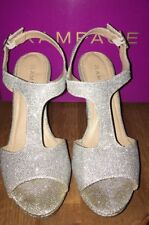 Ladies Size 8M Rampage Candelas Silver Glitter Mesh Shoes 390005.              G
