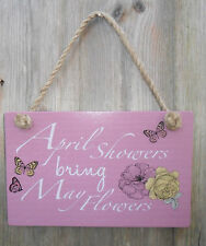 SHABBY CHIC WOODEN GARDEN HANGING PLAQUE QUOTE FLOWERS SIGN PINK BUTTERFLY GIFT