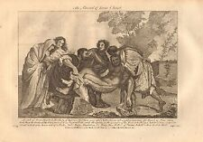 1770  ANTIQUE PRINT -BIBLE- THE BURIAL OF JESUS CHRIST