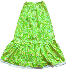 Vintage 60s THE LILLY Pulitzer Green Floral Eyelet Lace Long Maxi Boho Skirt S