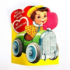 Lot (2) Vtg 40s 50s Hot Rod Valentines Card Ephemera Classic Antique Car Flocked