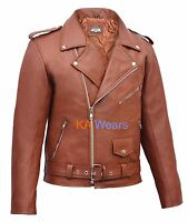 Leather Jacket Brando Biker Mens Classic Motorbike Motorcycle Vintage Perfecto