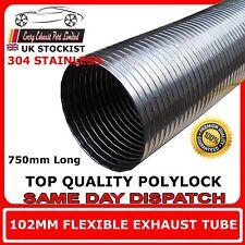 """102 mm 4 """"Universel Tube de réparation d'échappement flexible polylock acier inoxydable 0,75 m"""