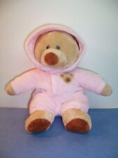 """TY LOVE TO BABY PLUFFIES BEAR PINK NON-REMOVABLE PAJAMA'S SUIT - 2013 - 10""""  VGC"""