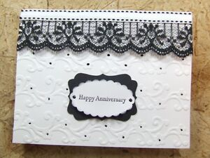 Handmade ANNIVERSARY Card EMBOSSED LACE  Using Stampin UP! 3D
