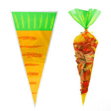 50pcs Easter Treat Cone Carrot Sweets Cellaphane Bags Party Favour Loot Gift