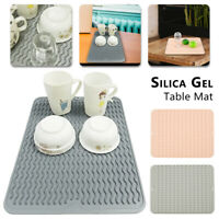 Silicone Dish Draining Mat | Non-Slip Rubber Utensil Drying Board | Kitchen Pad