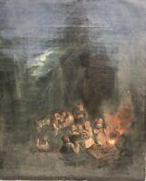 Biblica Scena Reisegesellschaft con Cavallo di Notte Falò Chiaro di Luna 19.Jh