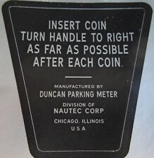 Duncan Model 60 Parking Meter Instruction Plate Decal. Looks Great !