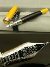 "Montegrappa ""MIYA CARBON""Fountain Pen NIB: 18k White Gold / B Yellow MRSP 1375 $"