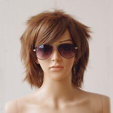 Women Men Short Straight Cosplay Full Hair Wig Blue Brown Green Orange Red White