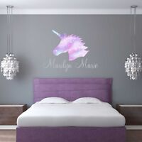 CUSTOM NAME VINYL DECAL WITH GALAXY UNICORN HEAD WALL STICKER