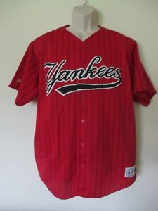 VINTAGE NEW YORK YANKEES RED MAJESTIC SEWN LETTERED BASEBALL JERSEY XL USA MADE