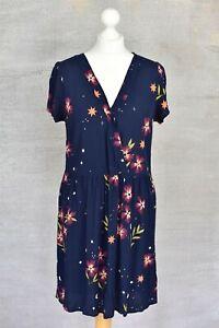 DES PETITS HAUTS Valita blue floral print crepe tea dress T2 UK 10