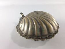 Clam Shell Metal Hinged Serving/Butter Dish ~ Vintage! Nice Patina~ Ships FREE!