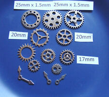 12 STEAMPUNK  METAL CHARMS SILVER  COLOUR COGS AND GEARS