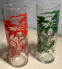Vintage Pair of Collins Glasses Red & Green Dragon Orchids Halekulani Hotel, HI