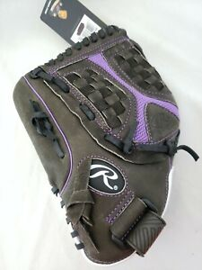 "NWT Rawlings Storm 12.5"" Softball Glove Black/Purple Leather ST1250FP LHT"