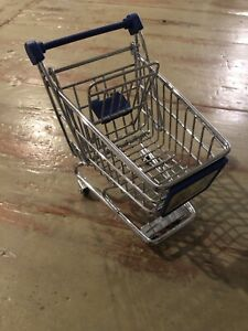 "Vintage METAL  Grocery Shopping Cart Decorative 5.5"" H X 5 3/4"" L Auto Nation Ad"