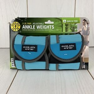 Gold's Gym Adjustable Ankle Weights 5lbs/2.5lbs Each Blue GG-3159R New in Box