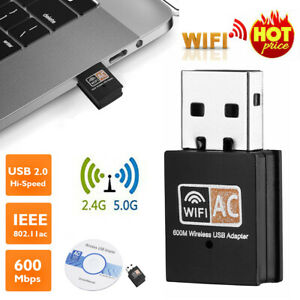 600Mbps 2.4-5ghz USB Dual Band Wireless Adapter WiFi Dongle 802.11 AC Laptop PC
