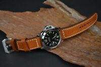 MA WATCH STRAP 26 24 22 MM GENUINE DEER LEATHER FITS PANERAI ETC HAVANA BROWN II