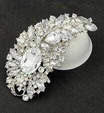 Luxus XXL Brosche Vintage  Braut Strass Kristall  Silber/Klar 11 mm X 60mm