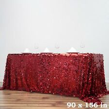 """Burgundy Rectangular 90x156"""" Large Payette Sequin Tablecloth Wedding Catering"""