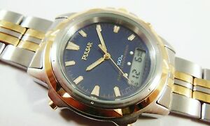 Pulsar by Seiko Two-Tone Stainless Steel V072-0050 Sample Watch NON-WORKING