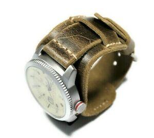 Distressed leather watch band men Handmade Bund strap Black Brown Steampunk band