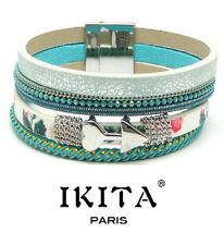 Luxus Leder Armband IKITA Paris  Ibiza Brasilien Magnetverschluss Stoff Türkis