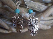 boucles d'oreilles forme hibou chouette métal argent et perle turquoise earrings