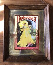 Vintage Rare Brytone Mechanical Mirror Works Ny Anheuser-Busch Budweiser Girl