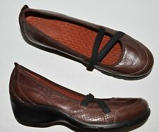 PRIVO CLARKS SZ 10 M BROWN LEATHER MARY JANE WEDGE HEEL SHOES