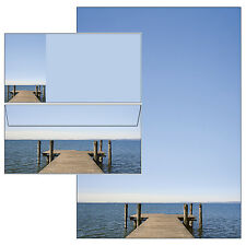 Seeblick Steg Wasser Set Motivpapier Briefpapier 20 Blatt A4 + 10 Kuverts Briefe