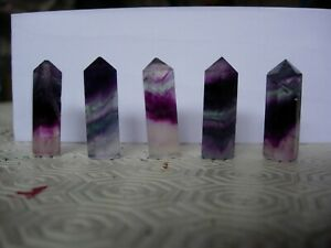 rainbow fluorite small wand/points set of five number 1